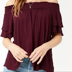 Smocked off the shoulder cutout top